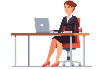 Business woman working at her clean office desk